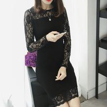 2018春秋韓版時尚氣質長袖蕾絲針織連衣裙女中長款修身包臀打底裙