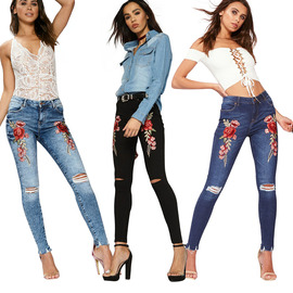 Wih Fast-selling Explosive European and American Fashion Pencil Pants with Ribbon Rose Embroidered Jeans