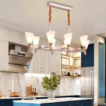 欧式轻奢长方形餐吊灯 现代简约时尚餐厅咖啡厅酒吧吧台灯具订制