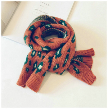 Leopard Toddler Knitted Scarf – Orange