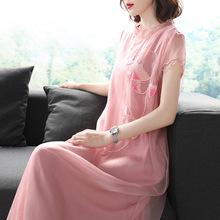 中國風2019春夏新款女裝真絲繡花無袖圓領蕾絲邊氣質中長款連衣裙