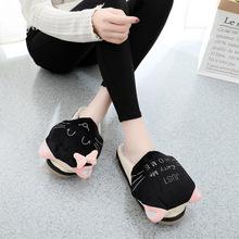 闪娇棉拖鞋女卡通玩具猫咪厚底冬天防滑家用室内2018新款毛毛拖鞋