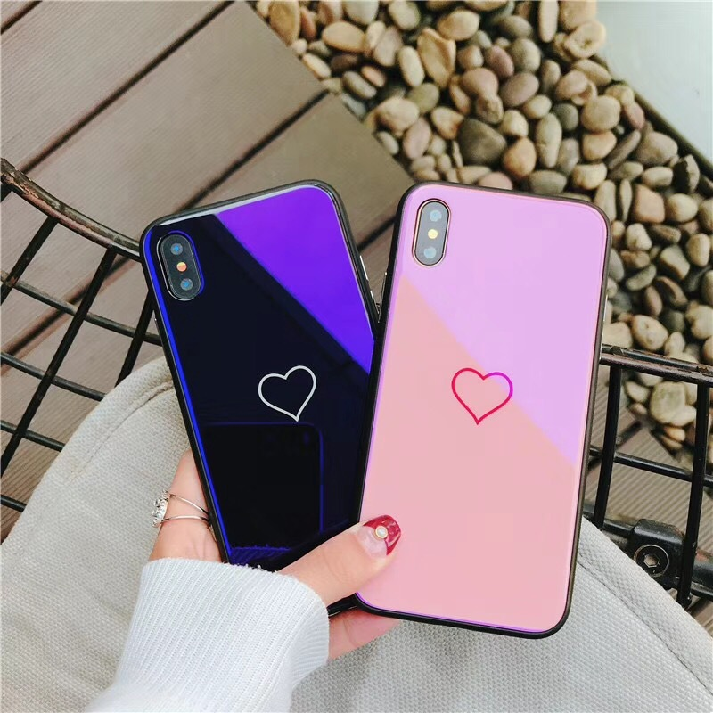 iPhone6 Blu-ray Love tempered glass mobile phone shell anti-fall Apple 8Plus all-inclusive glossy all-inclusive set