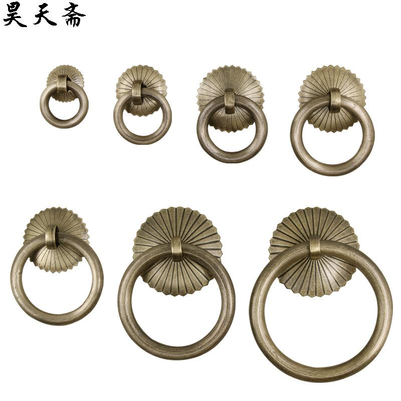 昊天斋仿古纯铜小圆环抽屉拉手新中式药柜茶叶罐齿轮扣环圆圈拉环