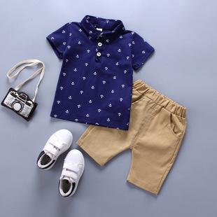 2020 ребятишки мальчиков рубашка поло интерьер Мейсон анкеры мальчик костюм для ребенка корейский короткий рукав весна сезон