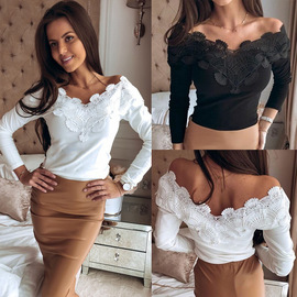 explosion women's long-sleeved t-shirt female spring V-neck lace European and American women's shirt