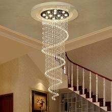 歐式樓梯吊燈別墅燈水晶吊線燈復式樓客廳燈樓梯燈螺旋長吊燈具