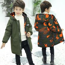 外貿爆款冬季新男童棉衣兒童中大童加厚迷彩兩面穿中長款貼標棉服