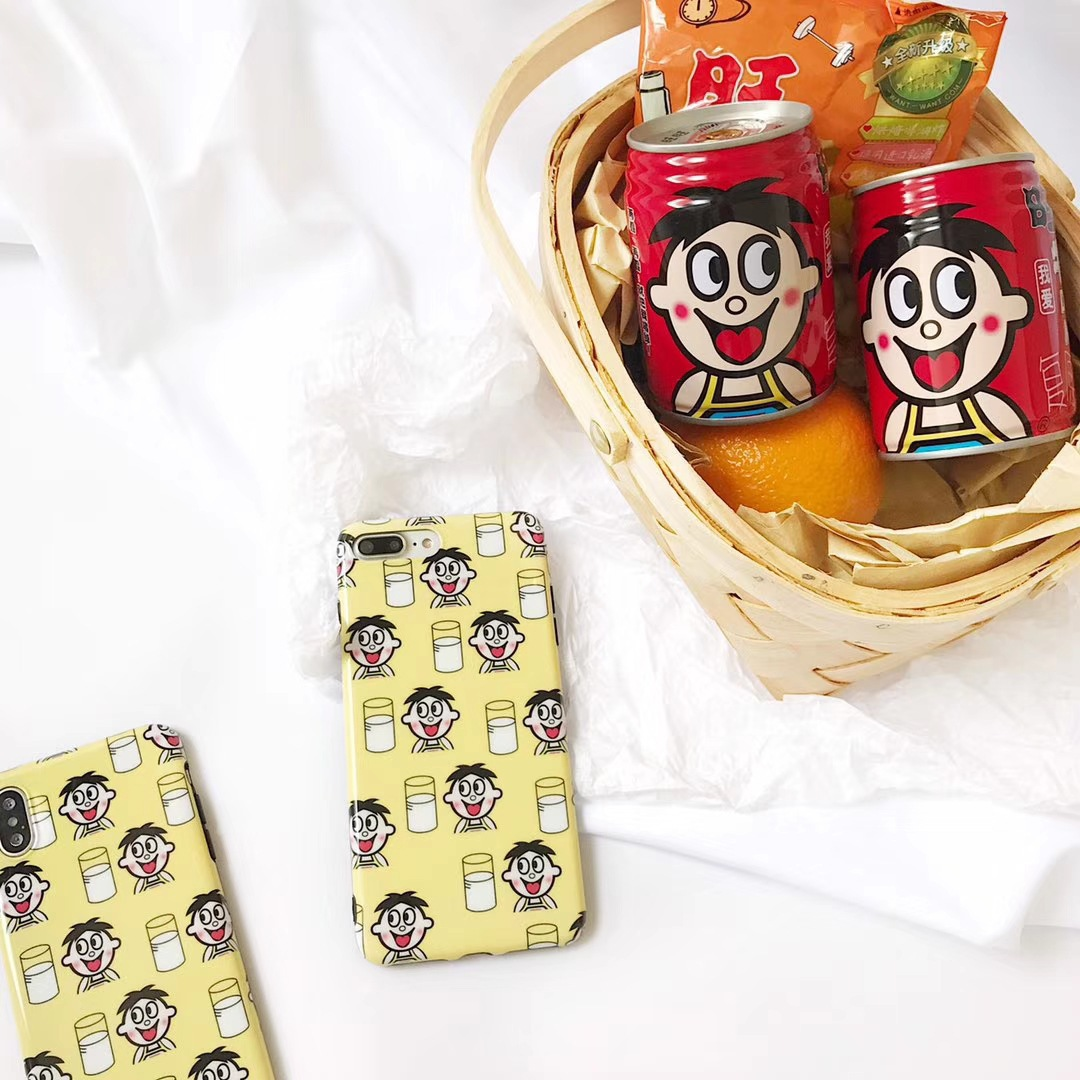 Cute cartoon milk apple X mobile phone shell yellow all-inclusive anti-fall iPhone7plus/8/6s soft set couple