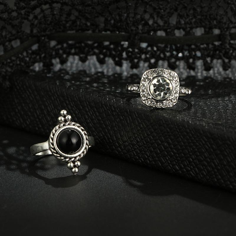 Vintage Black Gem Hollow Crown Diamond Water Drop Moon Geometric Leaf Ring Ten Piece Set NHGY181652