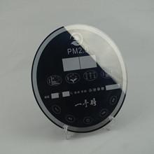空气净化器面板半透半反茶色透明灰玻璃丝印圆形玻璃厂家供应