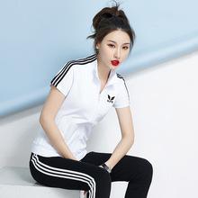 运动套装女夏韩版时尚潮2019短袖跑步运动服休闲套装女长裤两件套