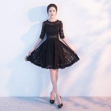 晚禮服2018新款春夏時尚優雅顯瘦蕾絲小禮服聚會修身短款連衣裙女