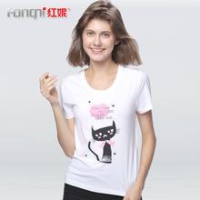 红妮夏新品女士短袖青少年弹力棉莱卡甜美猫咪印花打底衫半袖T恤