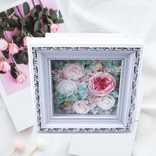 批发木质永生花包装盒玫瑰花玻璃礼盒木盒白色复古花器情人节礼物