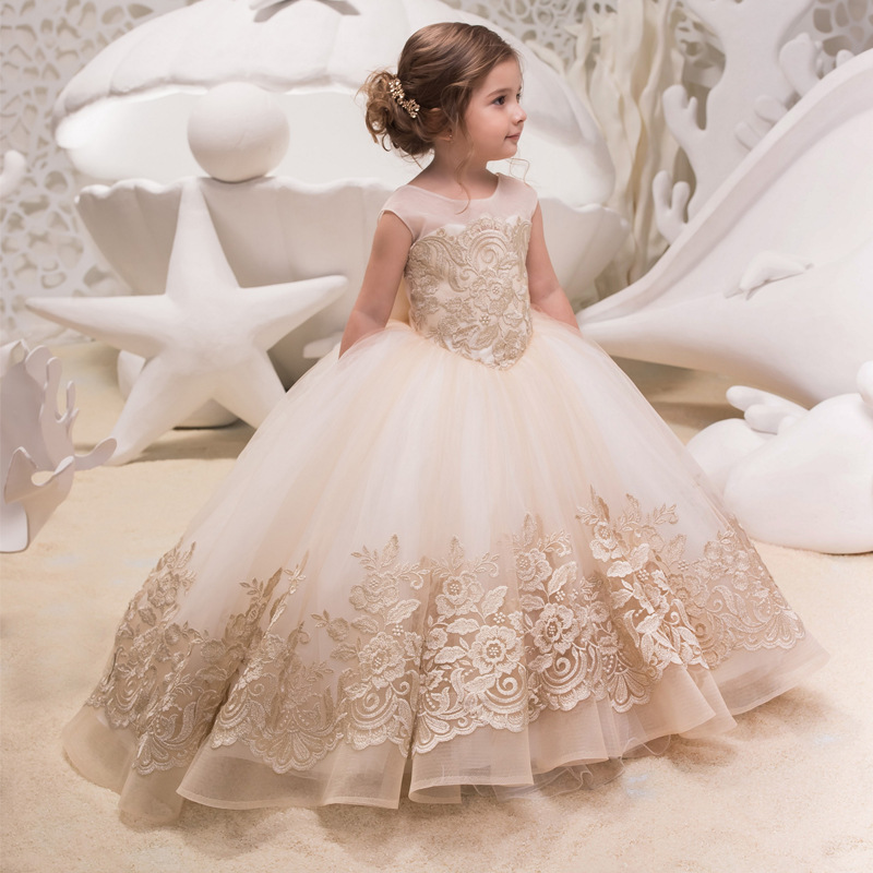 Floor length Lace Princess  Bridesmaid Sleeveless Party Flower Girls Dress ZG8