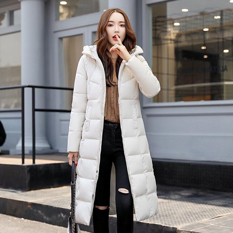 棉衣女长款欧美2020新款冬季时尚修身女装外套百搭加厚棉服棉袄