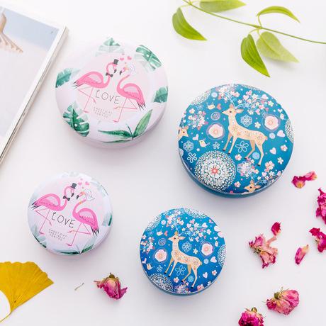 Chim hồng hạc sáng tạo châu Âu tròn hộp thiếc nhỏ kẹo tươi hộp lưu trữ hàng ngày