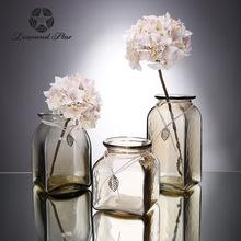 鉆石星現代簡約玻璃花瓶透明歐式田園復古水培花器家居工藝品批發