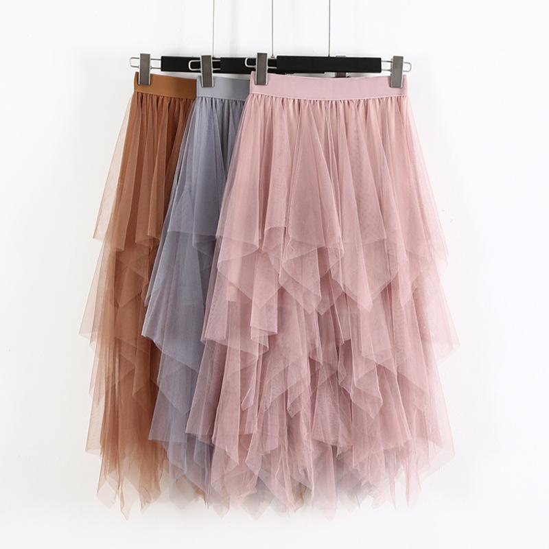 春夏新款?#36824;?#21017;网纱拼接半身裙高腰显瘦?#21487;?#20013;长款仙女裙