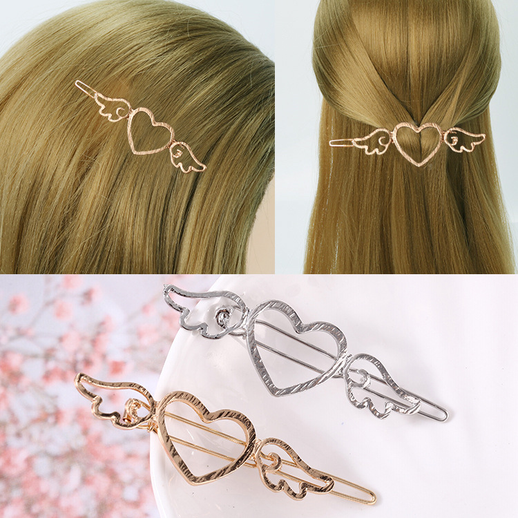 Korean version jewelry hollow love wing hairpin retro simple Wing metal one word side clip hairpin lady