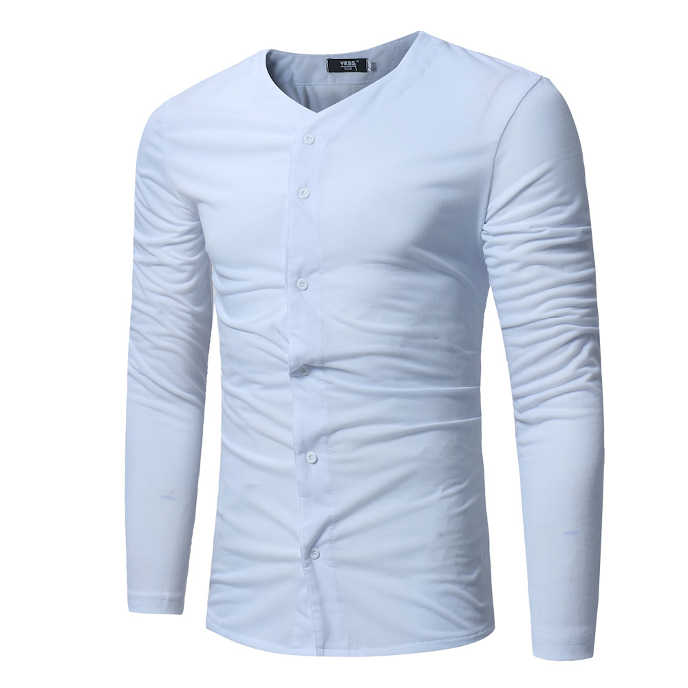 Foreign trade European spring and autumn new men's casual T-shirt men's Korean solid color men's open-minded slim long sleeve T-shirt