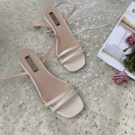 Thick heel sandals female head new simple open toe shoes with the same evening shoes