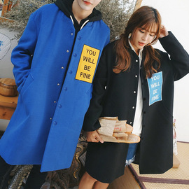 Japanese-Style Couple's Coat And Long Sections Woolen Coat Artistic Ulzzang Youth Coat