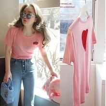 韓版2020夏季新款刺繡草莓可愛粉色短袖T恤女修身顯瘦彈力上衣