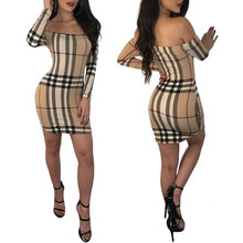 S3438 Foreign trade  European and American fashion casual style women's classic plaid long-sleeved slim sexy dress