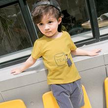 2018春季新款熱賣爆款兒童短袖套裝 韓版簡約可愛舒適條紋童裝