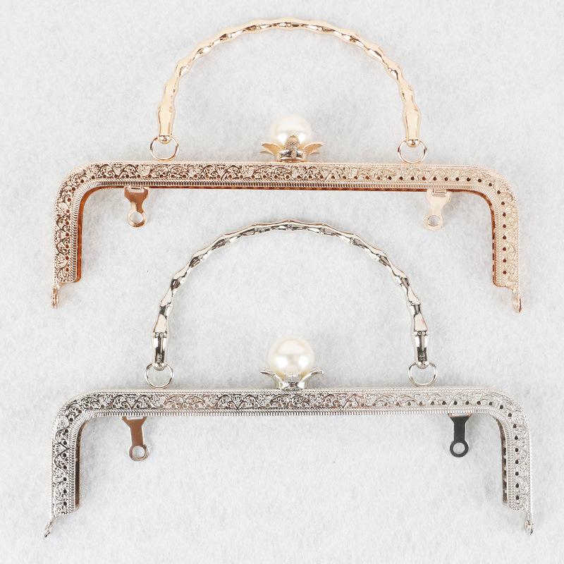 手工串珠DIY 金銀款復古壓花珍珠口金包材料配件電鍍圓角鏈條批發