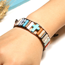 Cross-selling hot European and American popular single layer colorful natural stone beaded cross bracelet creative woven leather bracelet