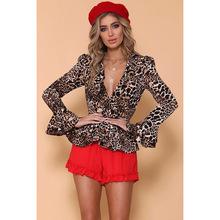 NLW亞馬遜速賣通Ebay源頭貨源歐美時尚豹紋荷葉邊收腰襯衫女上衣