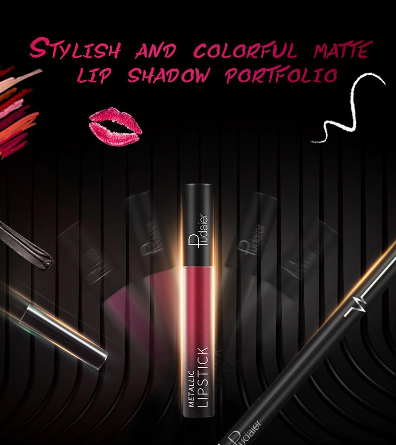 Pudaier Matte Lip Gloss, Lip Liner, Lip Glaze Lipstick Set