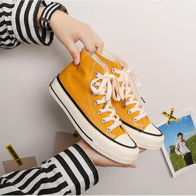 邦耐18014复古帆布鞋女高帮复刻情侣鞋韩版原宿黑色布鞋休闲鞋潮