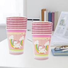 Trẻ em hồng Unicorn lân bữa tiệc sinh nhật theme dùng một lần ly uống ly thiết bị 8 in Cốc dùng một lần