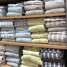 日式無印水洗棉純棉四件套條紋良品床上用品被套專柜同步2018新款