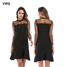 亚马逊ebay热款欧美女装性感镂空网纱拼接连衣裙薄款长袖鱼尾裙女