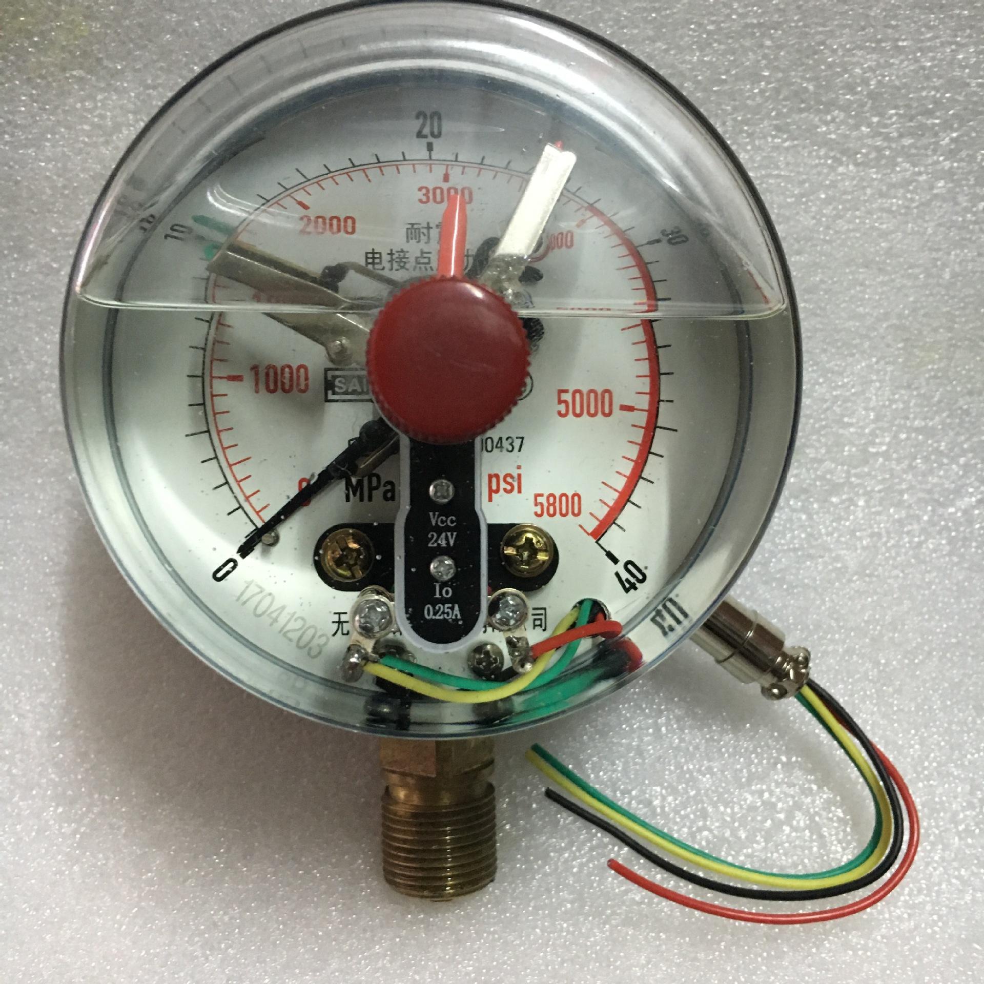 径向磁敏电接点24V耐震电接点压力表 耐震磁敏电接点表YNMC100