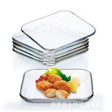 钢化玻璃盘 菜碟餐具套装 时尚美观西餐盘 微波炉用方盘