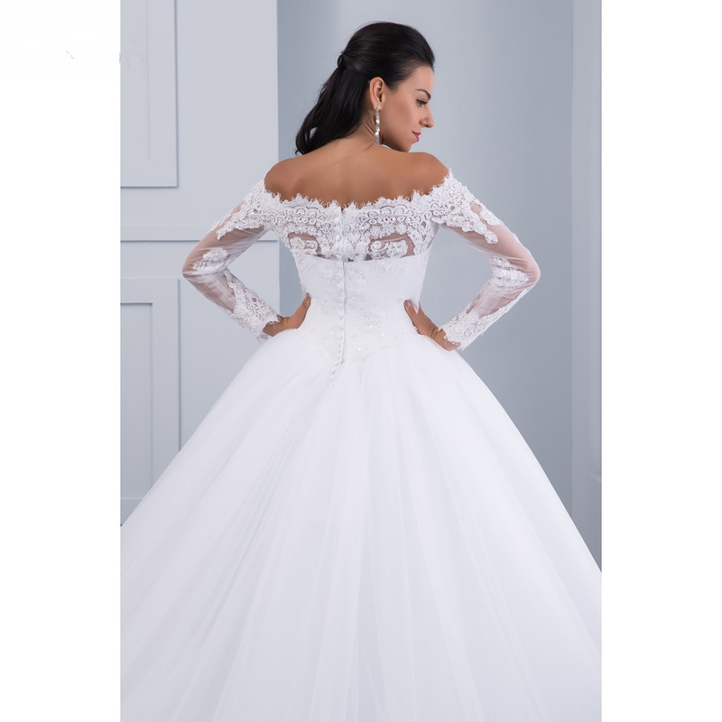 Ball Gown Lace Wedding Dresses Long Sleeves Off Shoulder