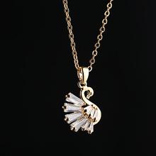 韩版电镀18k真金项饰水晶时尚短款锁骨链 新款微镶锆石天鹅项链女