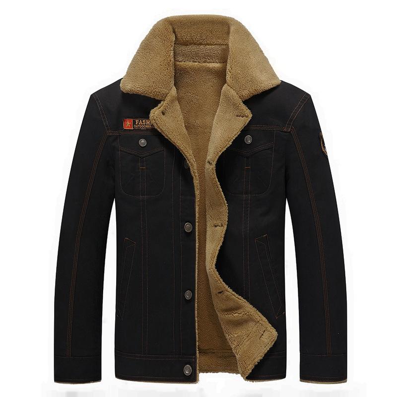 速卖通亚马逊秋冬季翻领男士纯棉水洗加绒加厚修身外套大码夹克男