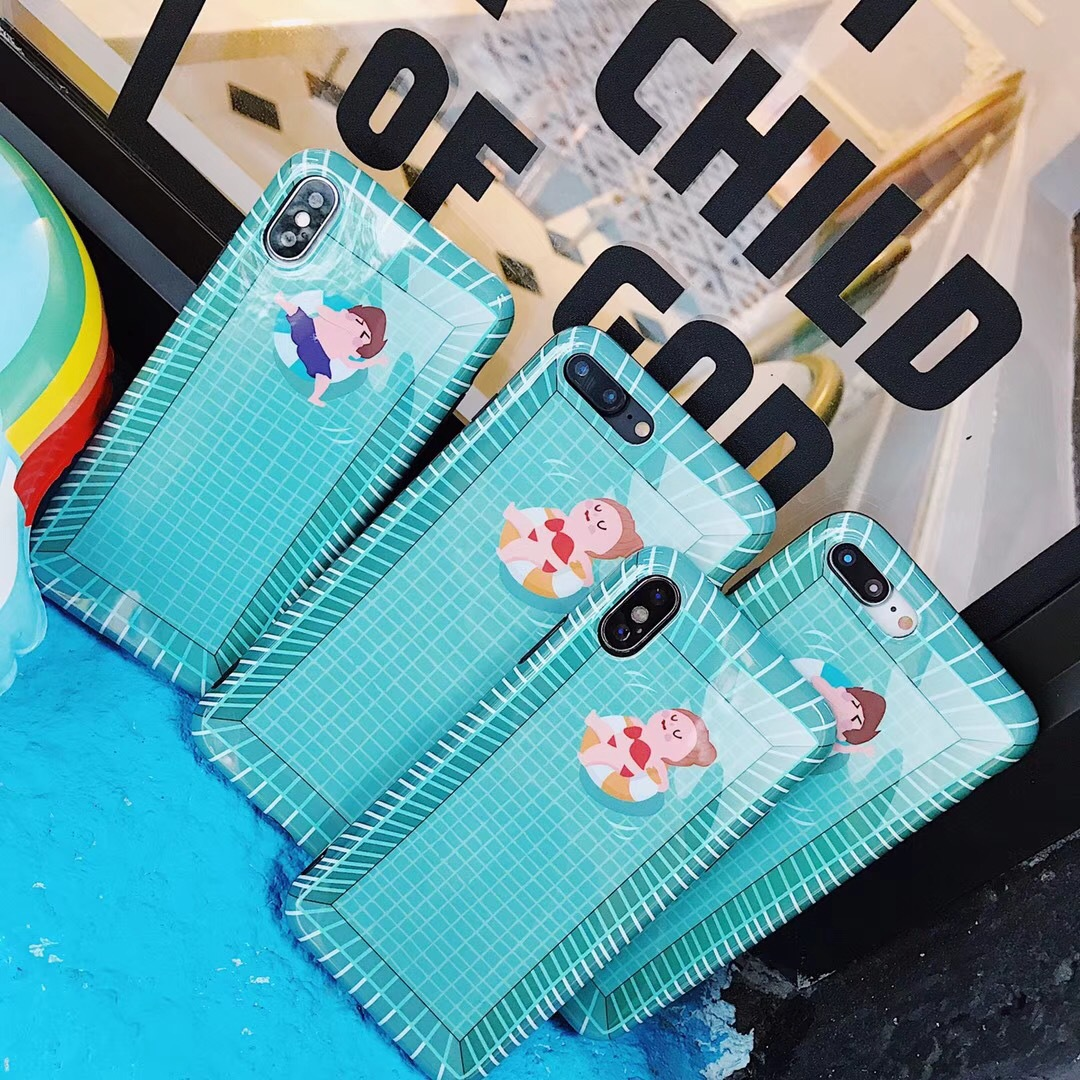 Cute cartoon couple boy girl swimming pool iPhoneX apple 7plus/6s/8 mobile phone case IMD soft cover