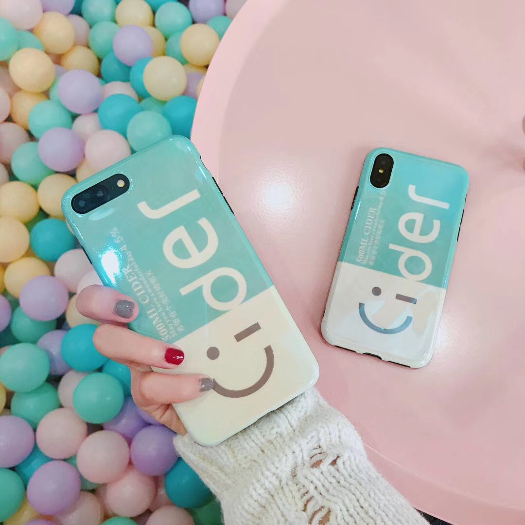 Korea smile blue smiley apple x mobile phone case iPhone8/7p apple new 6 all-inclusive soft shell couple