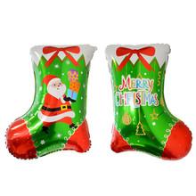 跨境新款圣诞袜铝膜气球 圣诞节party装饰布置长筒袜铝箔气球