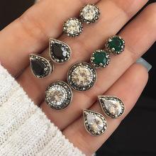 欧美跨境新品 潮流5对珠宝耀眼蓝白黑宝石水晶波西米亚风耳环耳钉