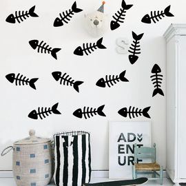 Simple creative INS wall stickers Living room children's room decoration stickers Fish bone vinyl word sticky mural stickers