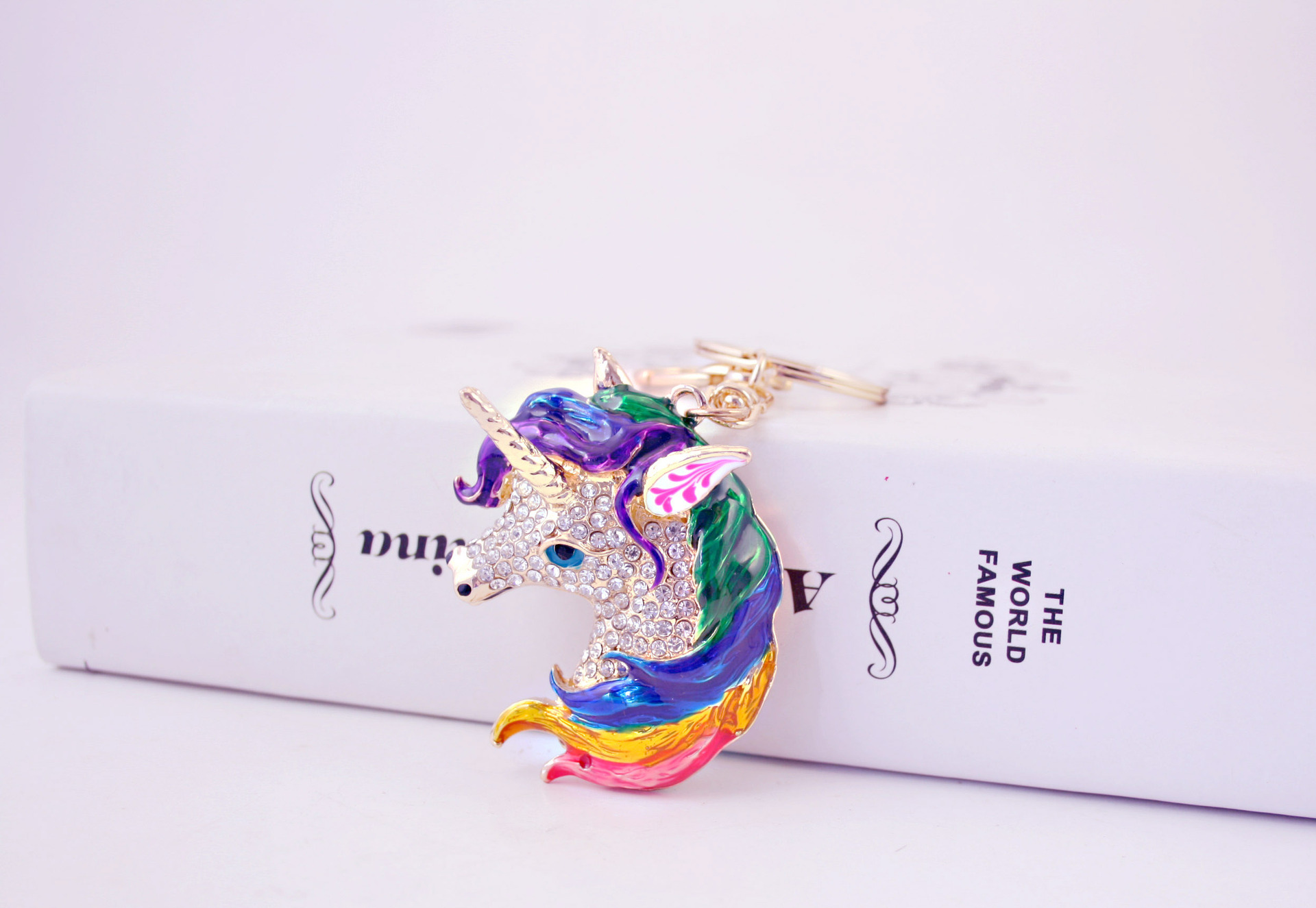 Creative cute dripping oil craft unicorn diamond car keychain  NHAK266952